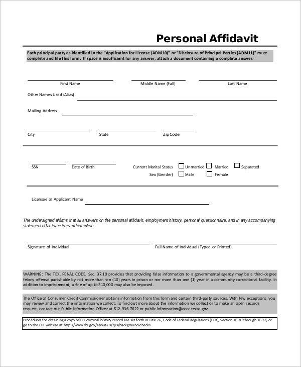 Sample Affidavit Sample Affidavit Examples In Word Pdf Sample