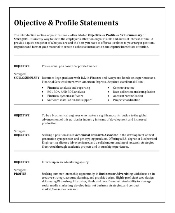 Resume Objective Samples For Any Job. Gallery Resume Objective