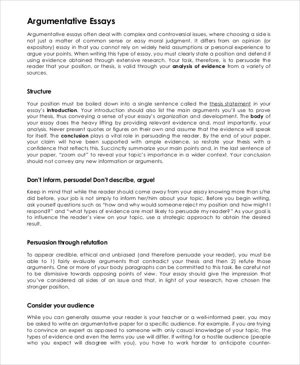 persuasive argumentative essay examples