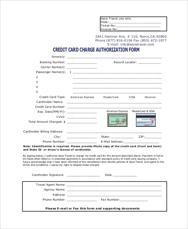Credit Authorization Form Template ms word word excel card buy – Travel Authorization Form Example