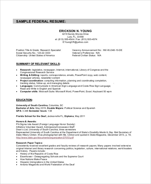Sample Federal Resume 8 Examples In Word PDF
