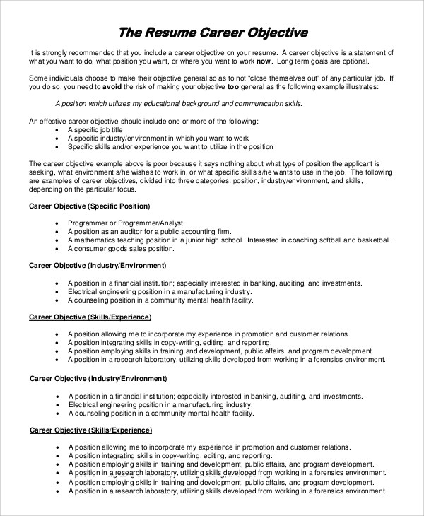 Sample Objectives For Resume Templates