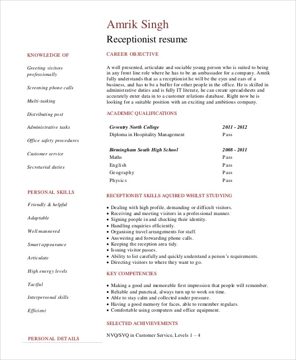 Good Receptionist Resume Objective Resume Templates For Us Here We