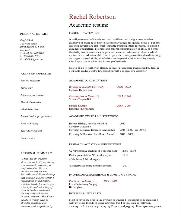 Sample Academic Resume 7 Examples In Word PDF
