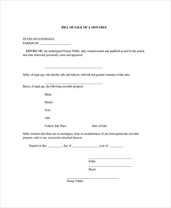 Sample Blank Bill Of Sale 9 Examples In PDF Word