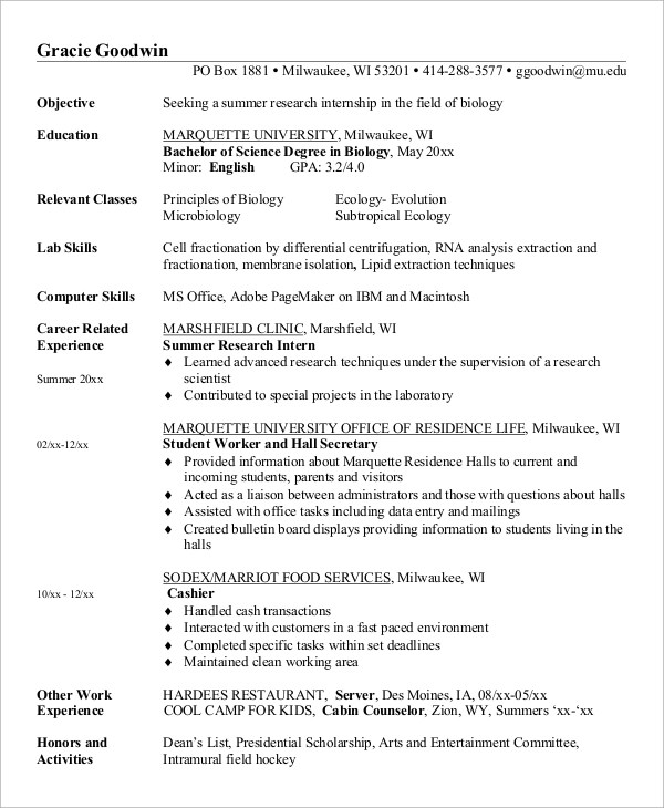 7 Sample Internship Resumes Sample Templates