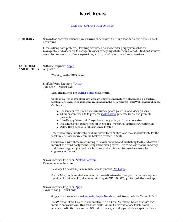 Sample Software Engineer Resume 8 Examples In Word Pdf