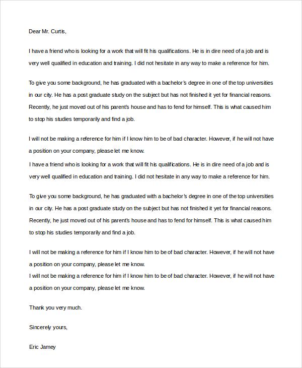Friend Cover Letter Sample Referred