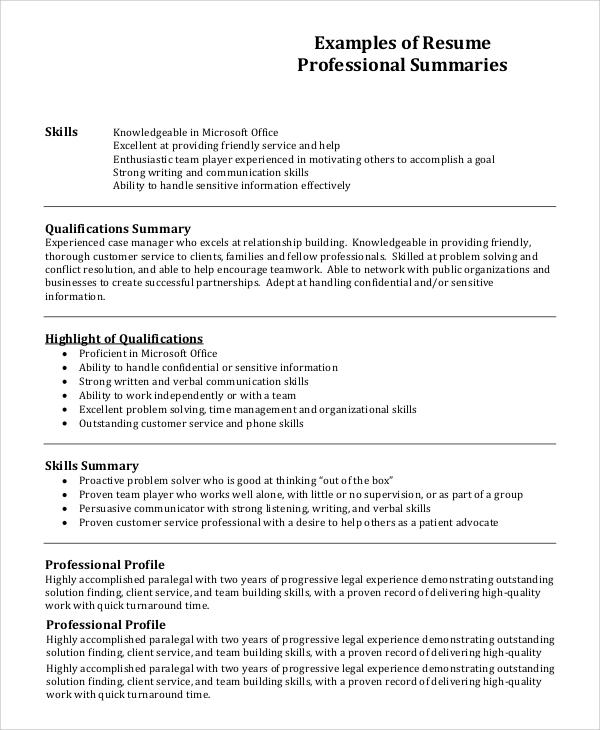 Resume Profile Example 7 Samples In Pdf Word