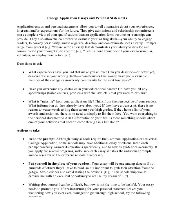 Examples Of College Personal Essays  Docoments Ojazlink
