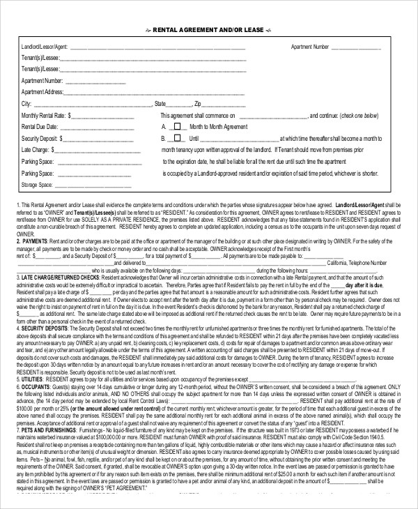 Lease Agreement Templates In Ms Word