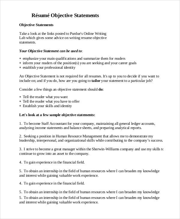 Business Resume Objective Statement Examples. Resume Objective