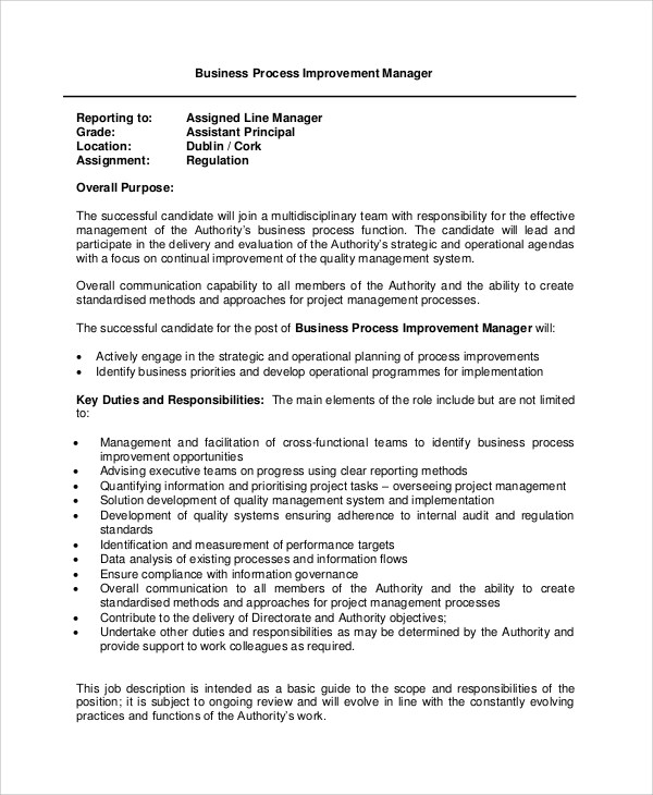Basic Job Description Template this free sample was provided by – Business Manager Job Description