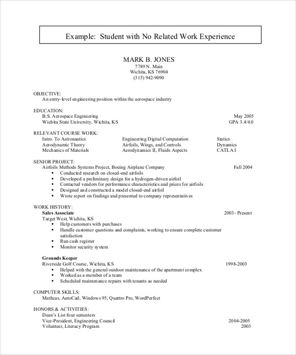Resume Samples For Students With No Experience - Resume Sample