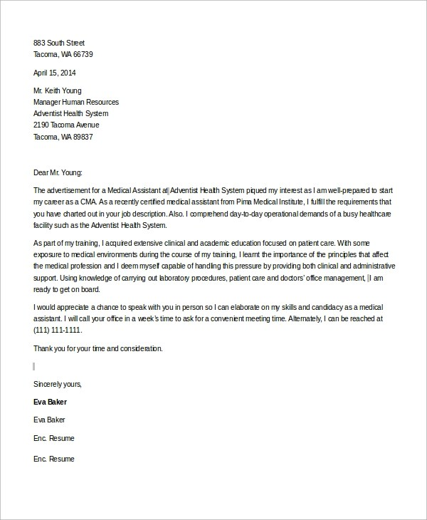 Free 7 Sample Medical Assistant Cover Letter Templates In Ms Word Pdf