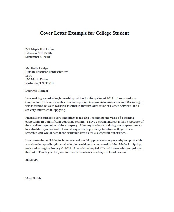 cover letter college student internship cover letter free - Cover Letter For Marketing Internship