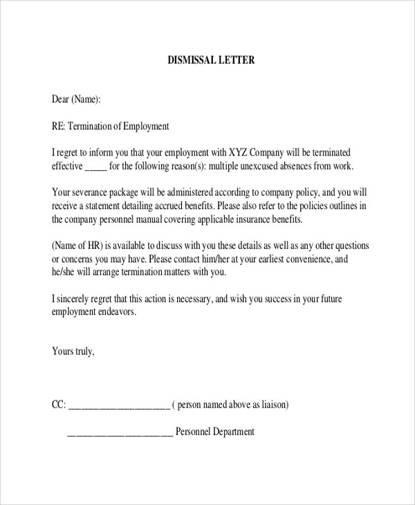 Termination letters examples of termination letters due to poor sample letter of termination employment contract due to poor spiritdancerdesigns Image collections