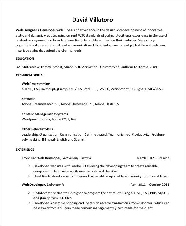 Sample Web Developer Resume Templates