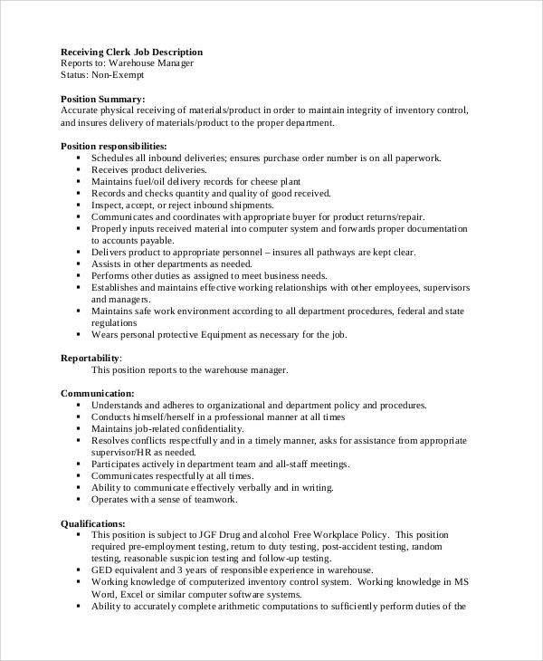 Warehouse Stock Clerk Job Description