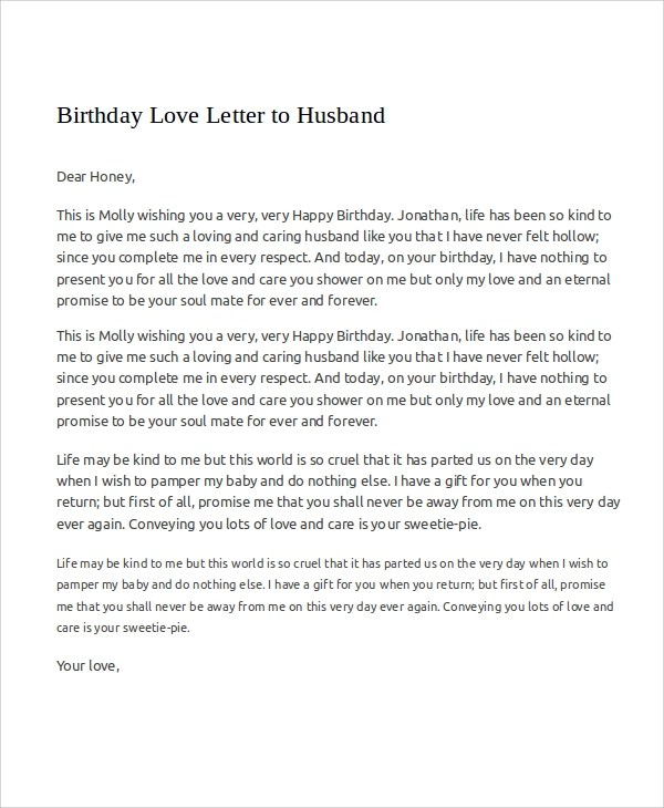 Free 6 Sample Love Letters To My Husband In Ms Word Pdf