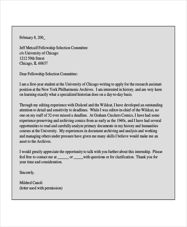 Free 8 Internship Cover Letter Samples In Ms Word Pdf