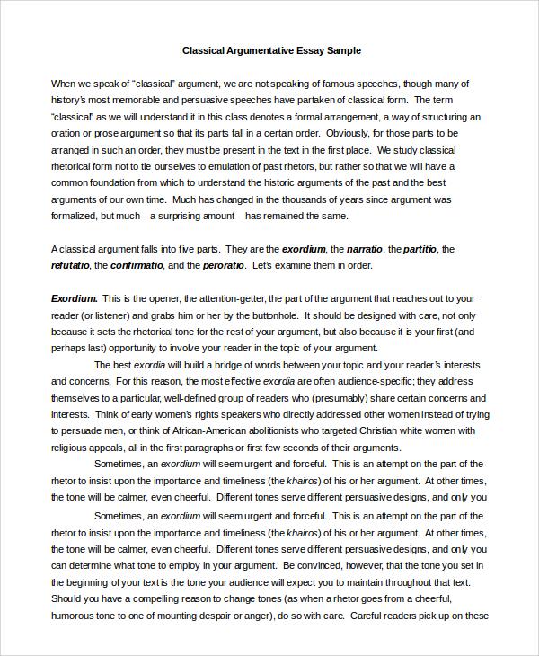 sample of argumentative essay examples