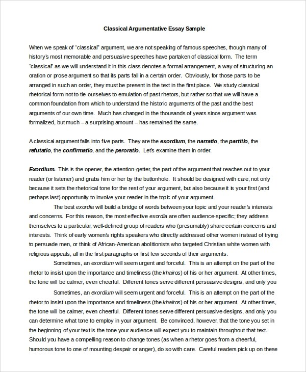 Argument Essay Example. Example Argumentative Essay Middle School