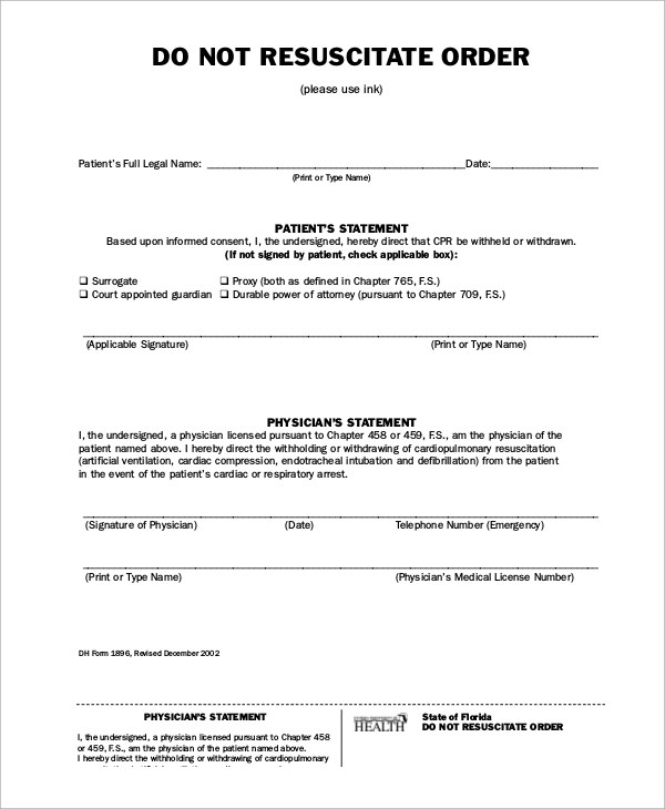 Sample Do Not Resuscitate Form 10 Examples In Word Pdf