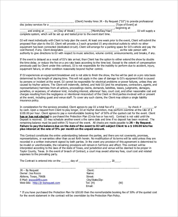Sample Dj Contract 14 Examples In Word Pdf Google Docs