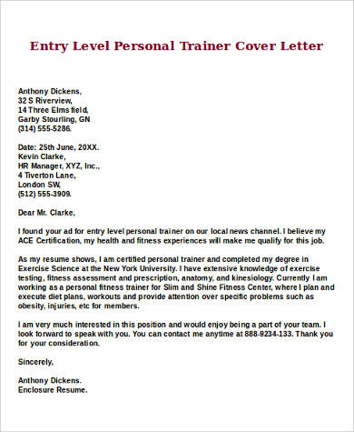 9 Sample Entry Level Cover Letters Sample Templates