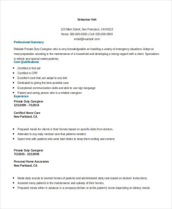 Sample Caregiver Resume 7 Examples In Word Pdf