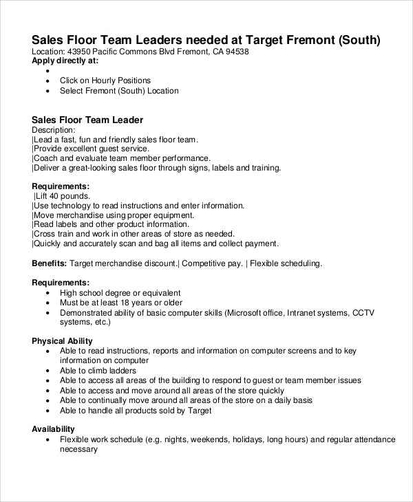 11 Team Leader Job Description Samples Examples Templates