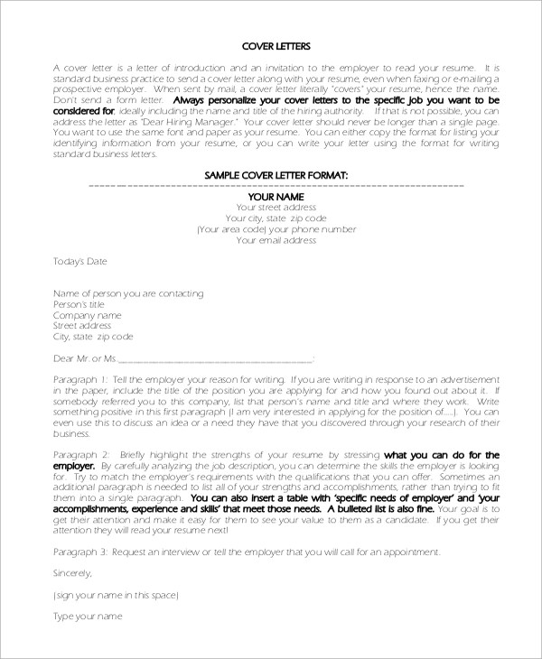 Sample Cover Letter Introduction 8 Examples In PDF