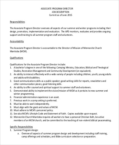 Sample Program Director Job Description 9 Examples In