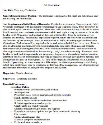 Sample Vet Tech Job Description 8 Examples In Word Pdf