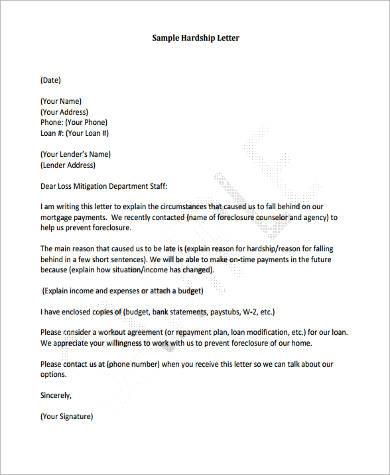 Financial Hardship Letter Hardship Letter For Mortgage Reduction