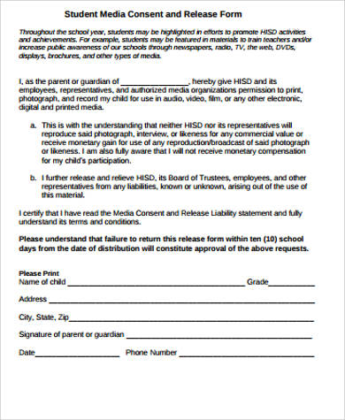 Sample Media Release Form 10 Examples In Word Pdf