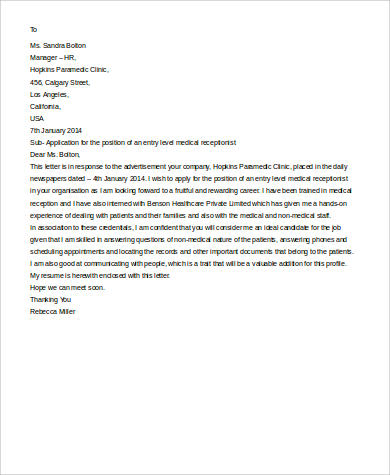 Sample Cover Letter For Receptionist 7 Examples In Word PDF