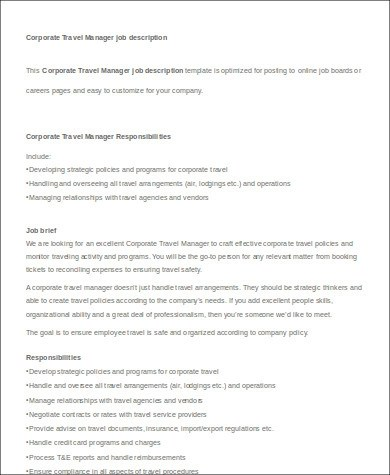 Travel Agent Job Description Sample 9 Examples In Word Pdf