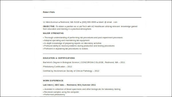 Sample Medical Technologist Resume 8 Examples In Word Pdf