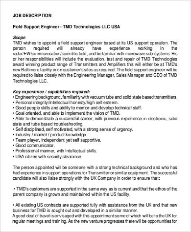 Field Engineer Job Description Sample 9 Examples In Pdf