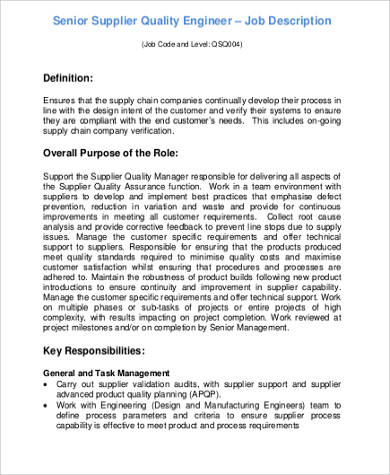 Quality Engineer Job Description 9 Examples In Word PDF