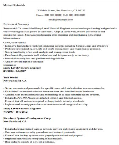 sample network engineer resume 9 examples in word pdf - Network Engineer Resume