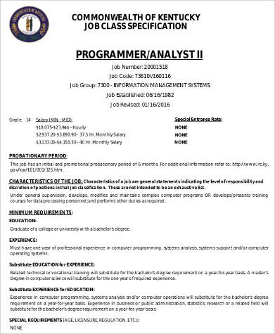 Programmeryst Job Description Sample 9 Examples In