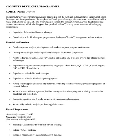 Computer Programmer Requirements   The Documents In Our Library Are Free  Download For Personal Use. Feel Free To Download Our Modern, Editable And  Targeted ...