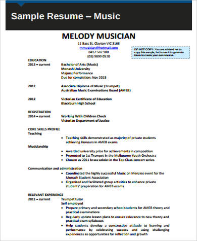 Free 7 Sample Music Resume Templates In Ms Word Pdf