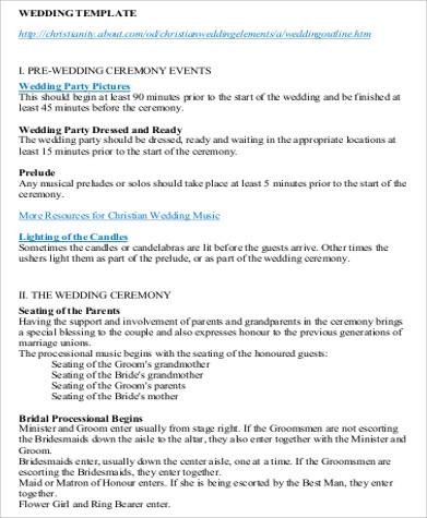 Wedding Agenda Sample 7 Examples In Word Pdf