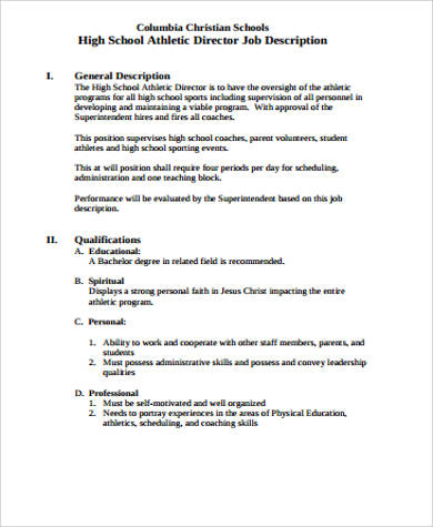 Athletic Director Job Description Sample 9 Examples In