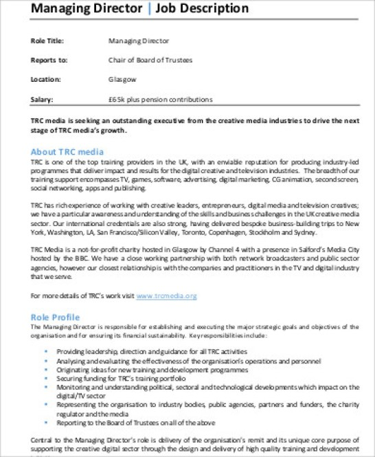 Managing Director Job Responsibilities