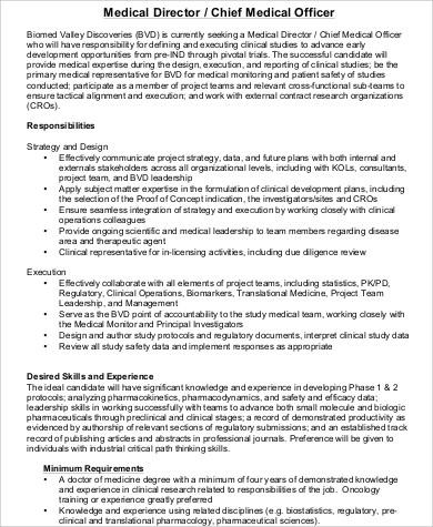 Chief Medical Officer Job Description Sample 7 Examples